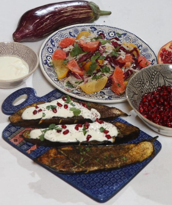 Mary Contini's Roasted spiced aubergines with Greek yoghurt