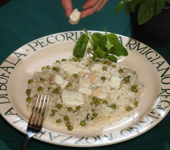 Mary Contini's Asparagus and pea risotto with smoked mozzarella