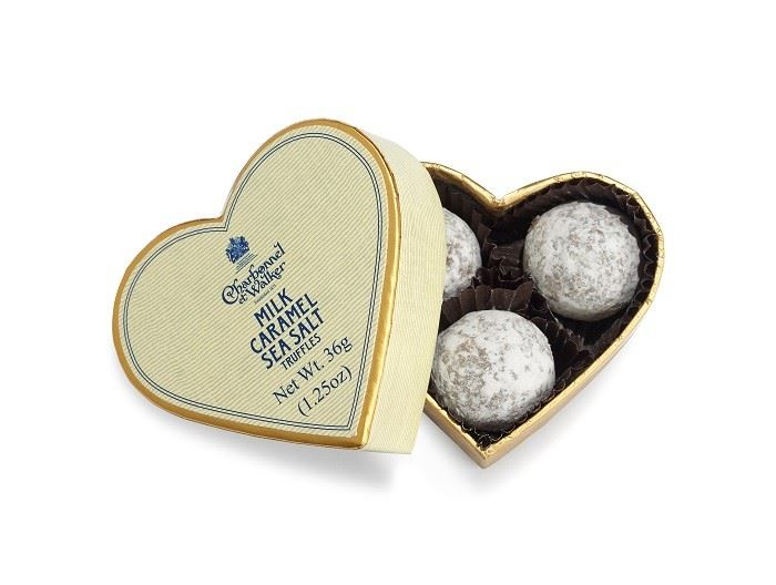 Cream Heart Box Sea Salt Caramel Truffles 36g